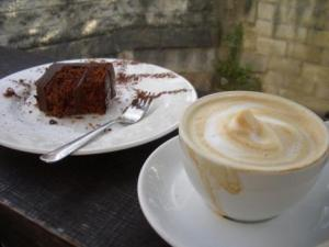 Latte Coffee and Choclate Cake