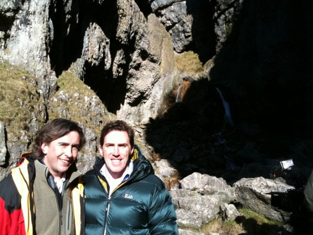 Rob Brydon and Steve Coogan at Gordale Scar, Malham