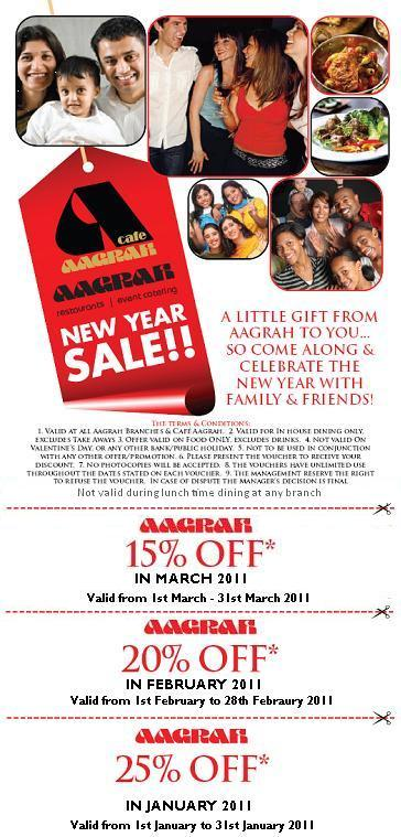 Aagrah new year discount 2011