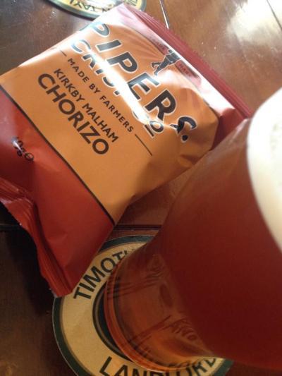 Kirkby Malham Chorizo Crisps and Timothy Taylors Landlord