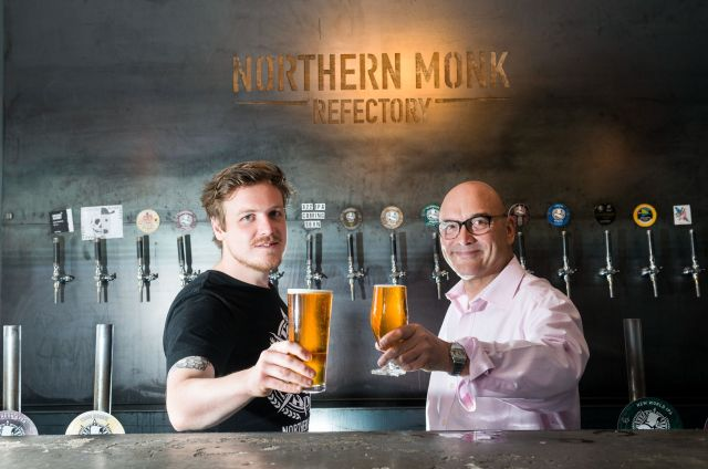 Gregg Wallace shares a pint with Northern Monk Brewery founder Russell B...